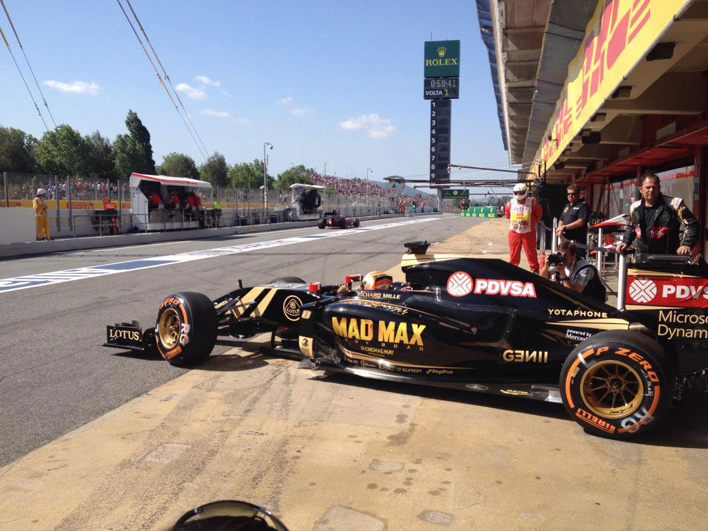 Left hand side of Lotus F1 with Mad Max Fury Road paintwork, Spanish Grand Prix 2015